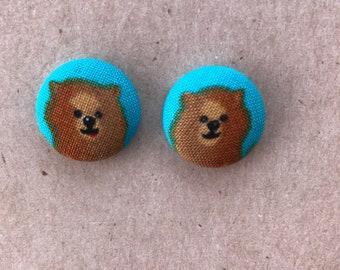 Pomeranian Fabric Button Earrings