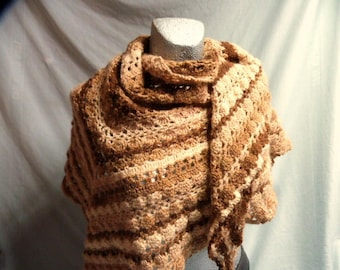 Triangular cloth crochet, shoulder cloth wool, cover cloth xxl, beige, brown, filigree Häkeltuch, mohair, stole, gift for women