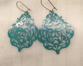 Mermaid Blue Patina Filigree Dangle Earrings  Bohemian Jewelry  Scalloped Metal Filigree Lightweight Statement Earrings Shabby Chic Earrings