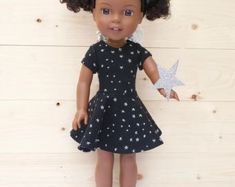 14.5 inch doll clothes AG doll clothes Black knit dress made to fit like Wellie Wishers doll clothes