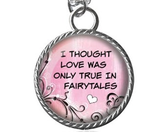 Music Necklace, Monkees Song, I Thought Love Was Only True...Pendant Necklace Key Chain Handmade