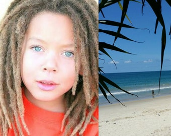 Small sized Blue Dreadlock swim cap - great for kids - FREE SHIPPING -Afro, braids, dreadlocks swimcap