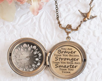 Courage Necklace Pooh Quote Necklace You are braver than you believe Friend Necklace Encouragement Gift Sympathy Gift Cancer Survivor Gift