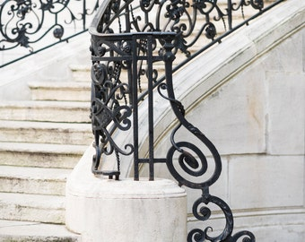 Paris Photography - Filigree Staircase, Neutral Decor, Black and Cream, Gallery Wall Art, French Architecture Home Decor, Large Wall Art
