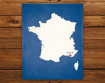Customized Printable France Country Map Art - DIGITAL FILE - Aged-Look Canvas Wall Art Print