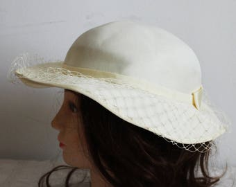 "54 cm 21"" Vintage summer hat ivory sun hat woman hat lady hat woman accessory hen party costume wedding hat church hat with veil"