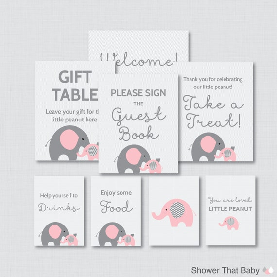 Printable Elephant Baby Shower Table Signs EIGHT Signs