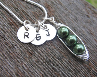 personalized necklace, initial necklace, mothers necklace, silver charm necklace, two peas, three peas, four peas, peas in a pod, jewelry