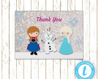 Frozen Thank You Cards | Printable PDF or JPEG | Templett | KBI233TY