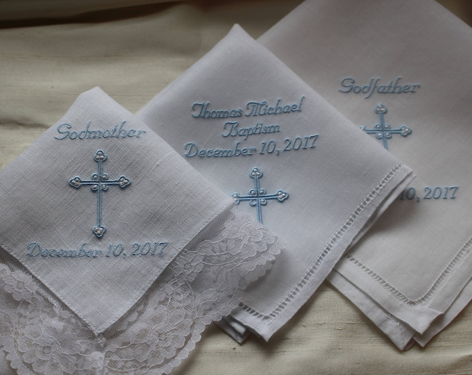 Set of 3 Catholic Christening Gifts, Baptism Gift, Embroidered Handkerchiefs, God Parent Gifts, Religious Gift, Catholic, Christening Gifts