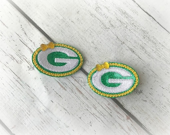 Football hair clip Packers Hair Clip Embroidered Felt Hair Clippies. Pick one or two. Pick Left side or Right.
