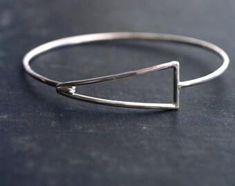 Geometric Sterling Silver Hook Bangle