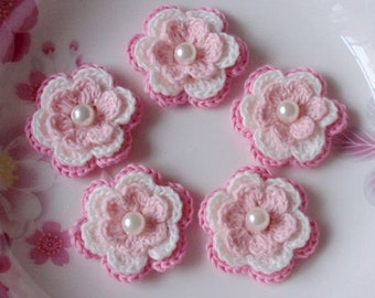 5 Crochet Flowers In Lt Pink, White, Pink  YH-031-06