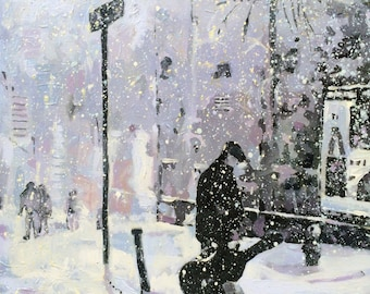 SOLD Painting: Greenwich Village Snowfall