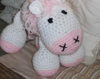 Handmade Amigurumi Pink and White Horse