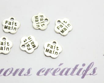 """30 charms silver Charms """"Handmade"""" - SC0080258 - 8mm"""