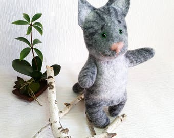 Wool toy Cat puppet Bibabo, developing toy puppet theater in your house