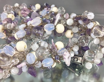 wire crochet jewelry, beaded necklace, mauve necklace, moonstone jewelry, amethyst necklace, crystal necklace, fine silver wire crochet
