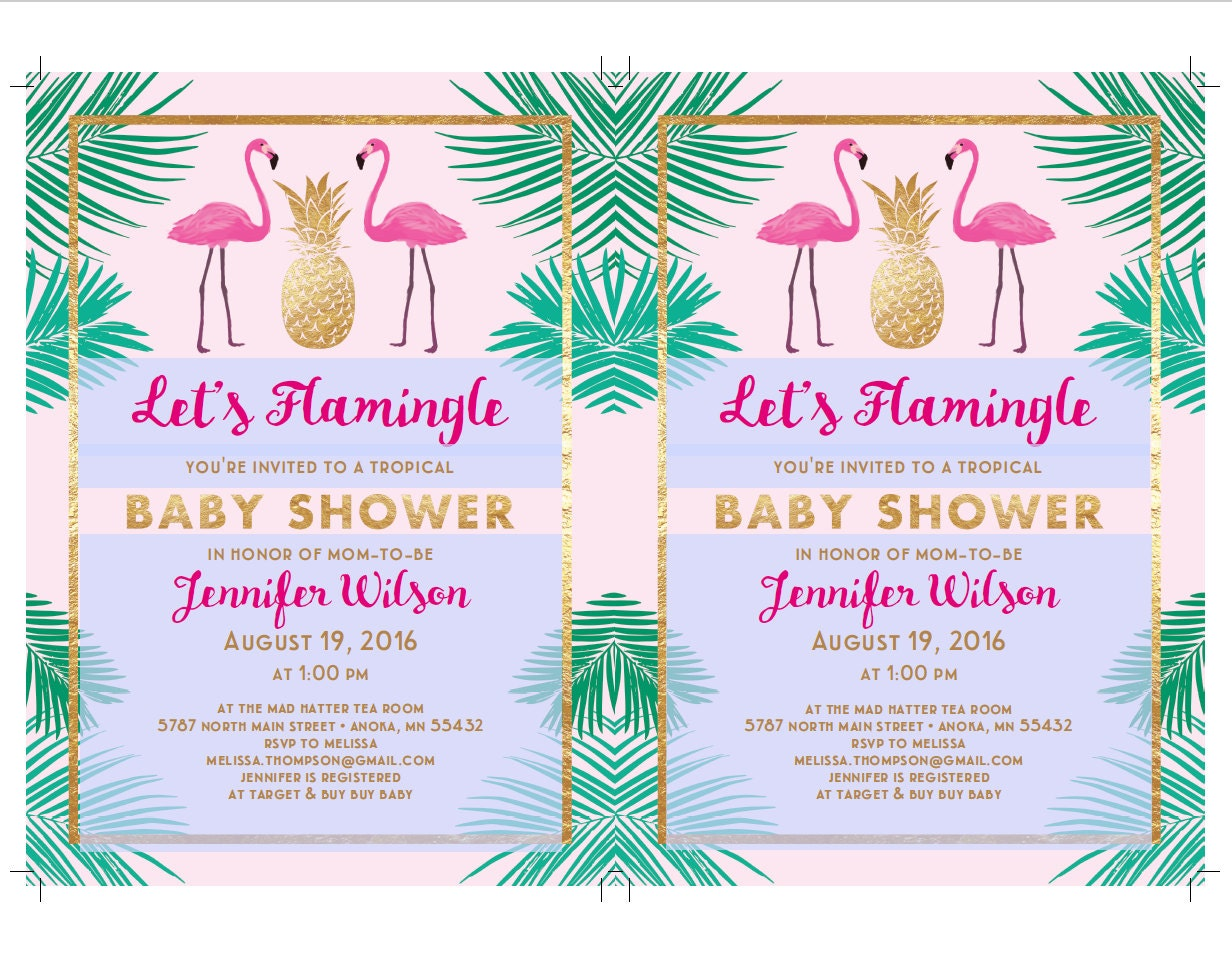 Let\'s Flamingle Baby Shower Invitation Template | Flamingo Party ...