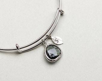 Personalized Silver Bangle Bracelet with Asymmetrical Charcoal Crystal, Adjustable Bangle, Bracelet, Expandable Bracelet