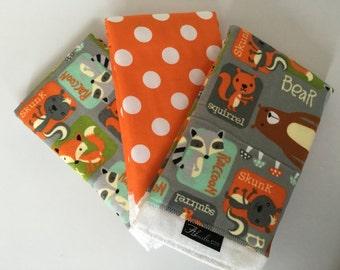 Fox Bear Squirrel Baby Burp Cloth Set (3)