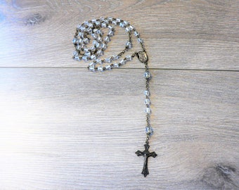 Italian Rosary Necklace - Facetted Clear Glass Beads Rosary - Cross Religious Necklace