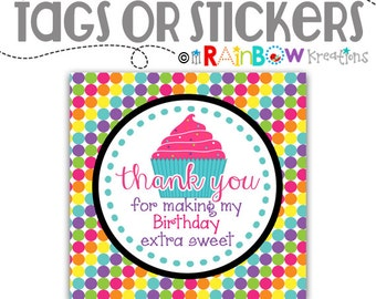FVTAGS-641: DIY Cupcake Decorating Favor Tags Or Stickers - Instant Downloadable File