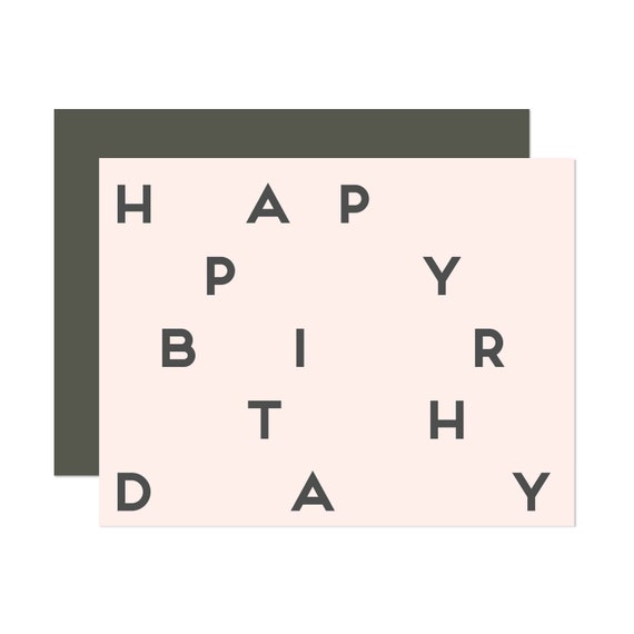 Millennial Pink Graphic Birthday - Happy Birthday Card