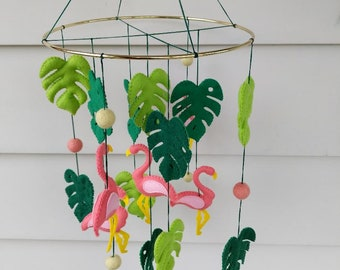 Flamingo baby mobile, tropical nursery, flamingo nursery