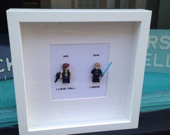 Han Solo and Luke Skywalker Gay Couple I Love You.. I Know. Personalised Star Wars Shadow Box Gay Wedding, Anniversary or Engagement Gift