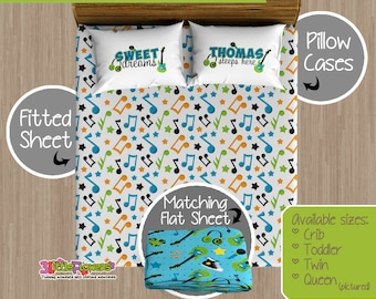Rock Star Custom Fitted and Flat Sheets - Kids Bed Sheets - Customized Children Bedding - Kids Pillowcase - Musical Notes Bedroom Decor