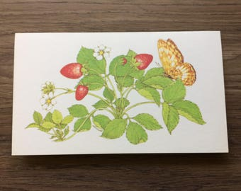 Vintage Greeting Card / Vintage Card / Vintage Stationery / Blank Card / Thank You Note / Butterfly Card / Garden / Spring / Easter Card