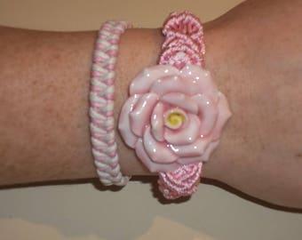 BOHO Bracelet Set - Pink  Macrame Flower