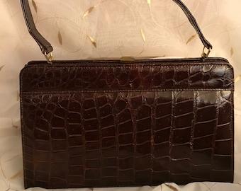 1940's Vintage leather faux crocodile purse handbag