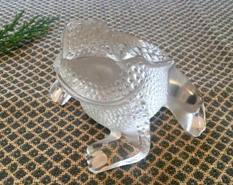 Vintage Lalique Crystal Frog