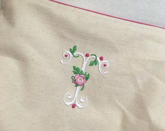 Embroidered Zipper Pouch-Vintage Rose Initial (Made to Order)