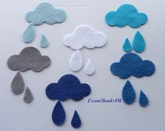 12 Felt Clouds and Drops, Felt shapes, Filzwolken und tropfen