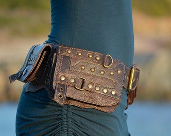 Leather Utility Belt | Hip Belt | Handmade Designer Pocket Belt | Fanny Pack | Biker | Urban Gypsy | Burning Man | Festival Fashion |