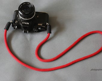 parallel line red nylon 8mm Handmade black leather camera neck strap SLR/DSLR