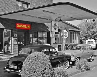 Vintage gas station photo,, Vintage Photo,  old cars photo