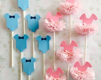 Tutus & Bow Ties, Gender Reveal, Boy or Girl, Pink or Blue, Cupcake Toppers