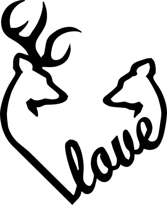 browning love heart deer buck and doe vinyl decal rh etsy com Browning Deer Symbol Browning Symbol Tattoo Designs