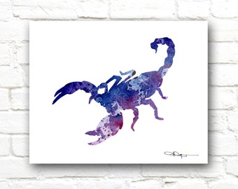 Blue Scorpion Art Print -Abstract Watercolor Painting - Wall Decor