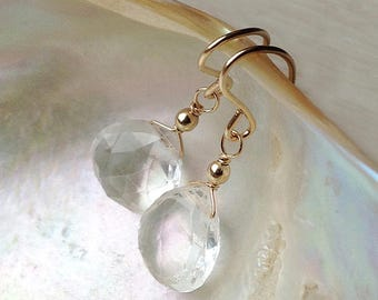 Clear crystal earrings, Clear quartz earrings, rock crystal earrings, April birthstone earrings gold wedding bridal jewelry, silver drop