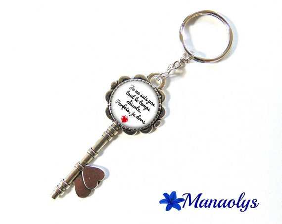 "Door keys or bag charm, message, quote, ""I'm not always boring, sometimes I sleep"" 134 glass cabochons"