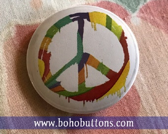 Colorful Rainbow Peace Sign Pin, Positive Vibes Magnet, Hippie Keychain, Bohemian Symbol, Tie Dye Button, 1960s Pinback Button, Free Spirit