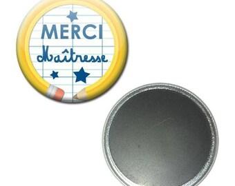 Magnet button 56 mm - thank you teacher notebook pencil school gift