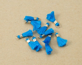 Mini Capri Blue Cotton Tassel,Thread Tassel, Jewelry Supplies, Simple Tassel Polished Gold Plated over Brass -4 pieces-[BP0054]-CAPRIBLUE/PG