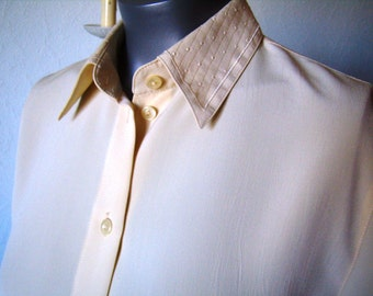 Yellow Gold blouse, short sleeves, Vintage, woman, size M/38-40.