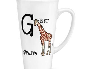 G Is For Giraffe 17oz Large Latte Mug Cup